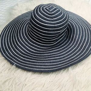 Talbots Navy and White Striped Straw Sun Hat